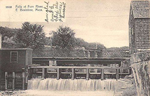 Braintree Massachusetts Fore River Water Falls Antique Postcard - Stores Braintree