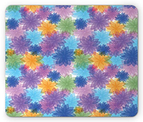 Abstract Mouse Pad, Vibrant Floral Radiant Petals Spring Nature Beauty Girls Essence Fragrance Theme, Standard Size Rectangle Non-Slip Rubber Mousepad, Multicolor