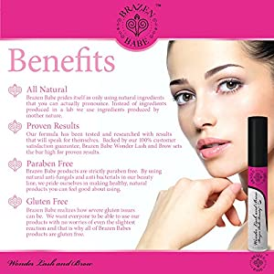 Eyelash Growth Serum by Brazen Babe. See Longer, Thicker Eyebrows and Eyelashes in as Little as 6 Weeks. Brazen Babe Strengthens, Conditions and Promotes Regrowth!