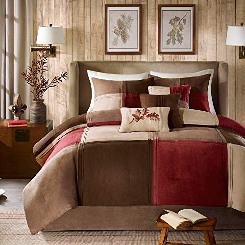 (HNU 7 Pieces Microsuede Comforter Set Queen, Color Block Pattern Red Brown Tan Beige Taupe Matte Look Soft Cozy Comfy Warm Brushed Fabric Casual Colorful Beautiful Decorative)