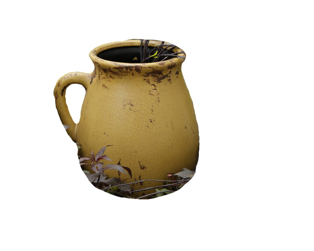 Your Heart's Delight Pottery Pitcher, 11 by 6-Inch, Mustard