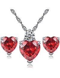 Love Heart Crystal Pendant Necklace Stud Earrings Set for Women Girls Gift