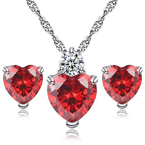 Z-Jeris Love Heart Crystal Pendant Necklace Stud Earrings Set for Women Girls Gift (Red)