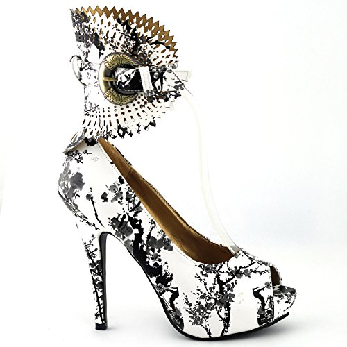 SHOW STORY White and Black Bamboo Chinese Ink and Wash Buckle Pumps,LF30402BW39,8US,White(Bamboo)