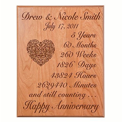 LifeSong Milestones Personalized 5th Wedding Anniversary Wall Plaque Gifts for Couple Custom Made 5 Year Ideas for Her,5th Year Wedding Anniversary for Him (Solid Cherry Wood)