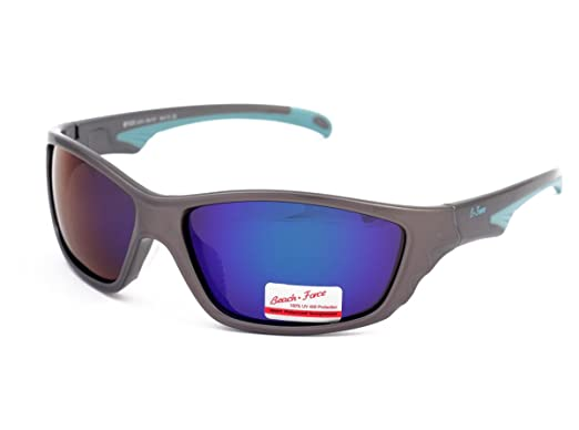 48a979200b4 Branded Beach Force Polarized Sport Sunglasses with Mirrored Blue Lenses  Eyewear For Men Women Teenagers Outdoor