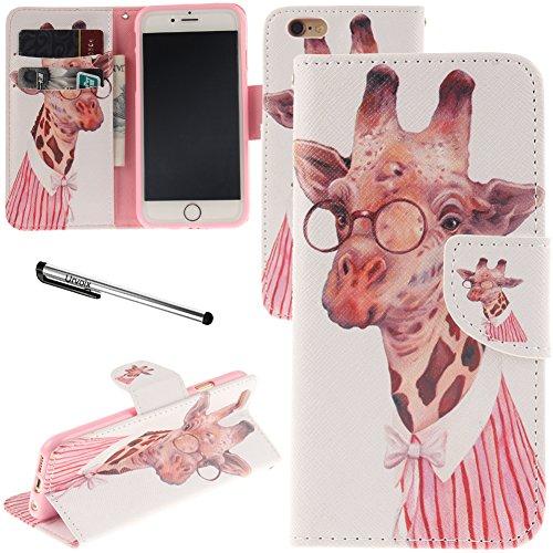 iPhone 6Plus/iPhone 6S Plus Fall, urvoix (TM) Ständer Leder Brieftasche Fall–Miss Giraffe Flip Cover für 14cm iphone6plus/6splus (nicht für iPhone 6)