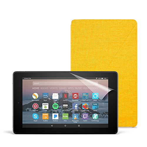 Fire 7 Essentials Bundle with Fire 7 Tablet (8 GB, Black), Amazon Cover (Canary Yellow) and Screen Protector (Clear)