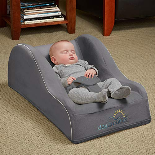 - hiccapop Day Dreamer Sleeper Baby Lounger Seat for Infants - Travel Bed - Bassinet Alternative, Charcoal Gray