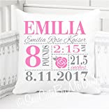 Sew Cute by Me Designs Original Birth Announcement Pillow for Baby Girls Rose Nursery - Includes Personalized Pillowcase and Pillow Insert 14''x14'' or 16''x16''