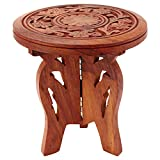 ITOS365 Handicrafted Wooden Carving Puja Chauki - Centre Piece for Table - Flower Vase - 6 Inches