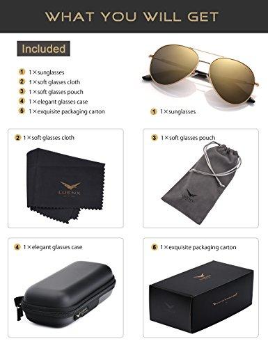 UV Avec Étui Métal 400 9 Poids Homme 60mm de Polarisé Protection or Monture Lunettes LUENX Soleil Léger Lunettes Y0xXq
