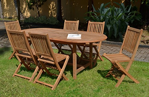 Amazonia Teak Extendable Oval Hamburg Patio Dining Set, 7 Piece Brown