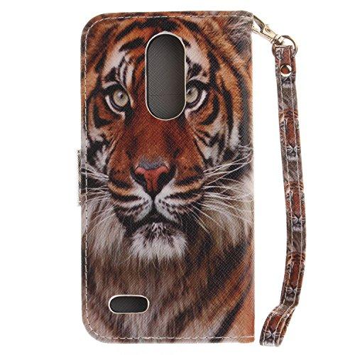 Para LG K4 2017 funda, (moda del perro) caja del teléfono de la PU patrón en pintado ,Función de Soporte Billetera con Tapa para Tarjetas correa de mano soporte para teléfono tigre siberiano