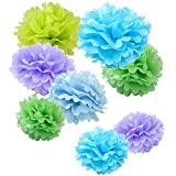 "WYZworks Set of 8 (Assorted Spring Pastel Lavender/Green/Blue Color Pack) 10"" 12"" 16"" Tissue Pom Poms Flower Party Decorations for Weddings, Birthday, Bridal, Baby Showers Nursery Décor"