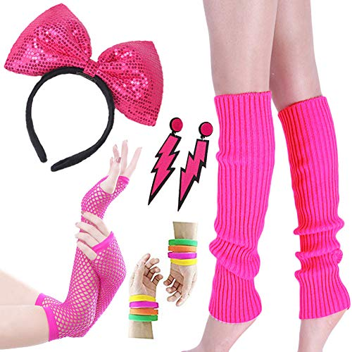Amazlife Costume Women's 80s Outfit Accessories Neon Earrings Leg Warmers Gloves ()