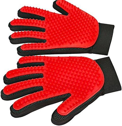Kwality Pet Grooming Glove - Gentle Deshedding Brush Glove - Efficient Pet Hair Remover Mitt - Massage ToolEnhanced Five Finger Design - Perfect for Dogs & CatsLong & Short Fur