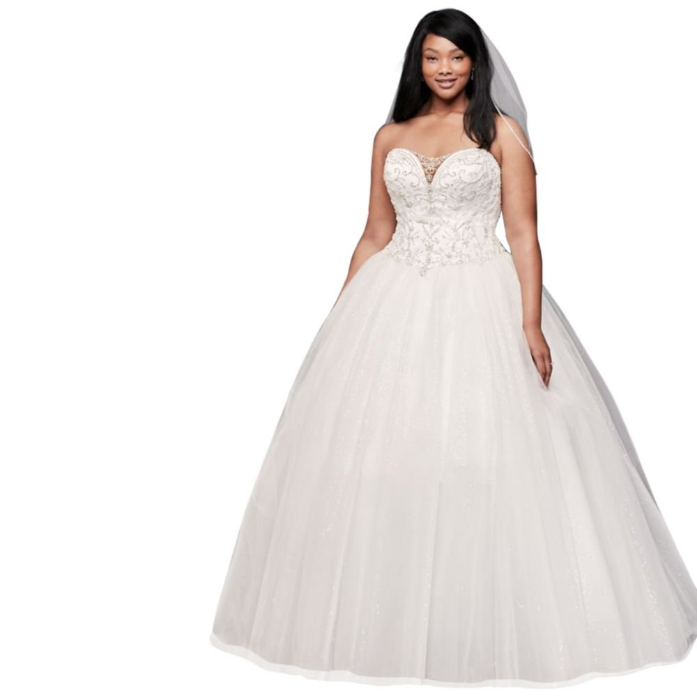David S Bridal Plus Size Wedding Gowns: David's Bridal Beaded Illusion Plus Size Ball Gown Wedding