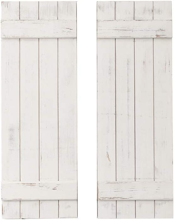 AZ L1 Life Concept Rustic White DECORATIVE ONLY Barn Wood Shutter Set Of 2 For Wall Decor, Window Accents - Add That Touch of Barn Wood Style and Rustic Decor To Any Room - Great for Home Decor and Rustic Decor.