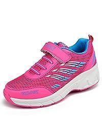 Vilocy Unisex Kids Roller Skates Shoes Girl Boy Trainer Sneakers Wheels Shoes Blue/Pink