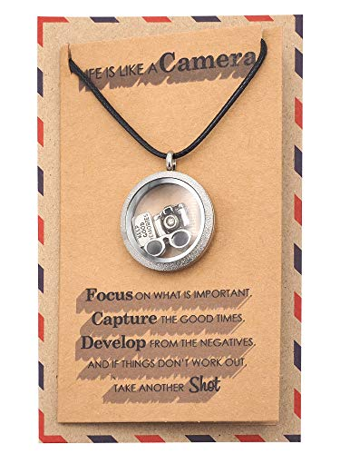 Quan Jewelry Handmade Camera Locket Pendant Necklace for Photographers, Camera Jewelry for Women, for Any Occasion with Greeting Card (Best Camera For Teenager Interested In Photography Uk)