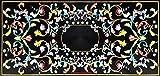 72'' x 36'' Black Marble Rectangle Sofa Table Top Pietra Dura Art Inlay Luxury Design
