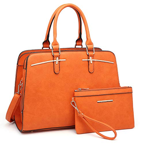 Women Handbags Satchel Purses Top Handle Work Bag Briefcases Tote Bag With Matching Wallet (3-Orange) (Leather Orange Ladies Purse)
