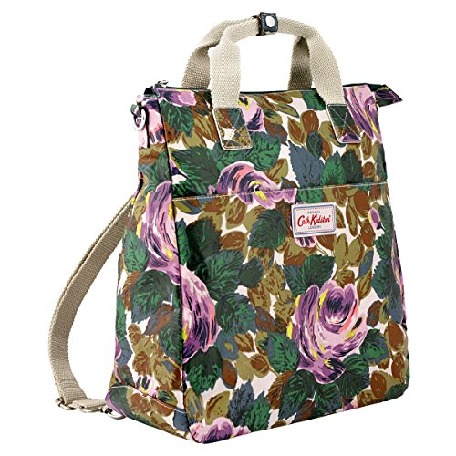 Cath Kidston Rose - Cath Kidston Matt Oilcloth Multi Strap Backpack Crossbody Bag Oxford Rose Bottle Green Color