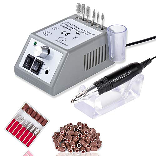 30,000 RPM Professional Nail Drill, High Speed Grinder Manicure E File Kit, Acrylic Gel Nails Polish Remover Buffer for Artificial Nails with Nail Drill Bits and Sanding Bands(Grey)
