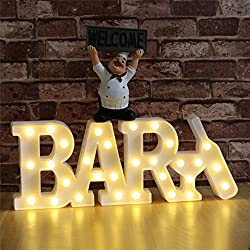 "DELICORE Decorative LED Illuminated Marquee Letter Sign BAR (16.7"" x 6.69"" x 1.57"", USB or Battery Powered, Warm White) - LED Indoor Decorative Night Light(Bar - White)"