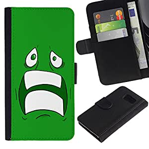 All Phone Most Case / Oferta Especial Cáscara Funda de cuero Monedero Cubierta de proteccion Caso / Wallet Case for Sony Xperia Z3 Compact // Sad Scared Face Ugly Fear Cartoon Green Teeth
