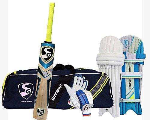 SG Batting Cricket Kit Combo (Superpak Kitbag + Nexus Plus Kashmir Willow bat, Full Size + Optipro Legguard + Ecolite Batting Gloves) ()
