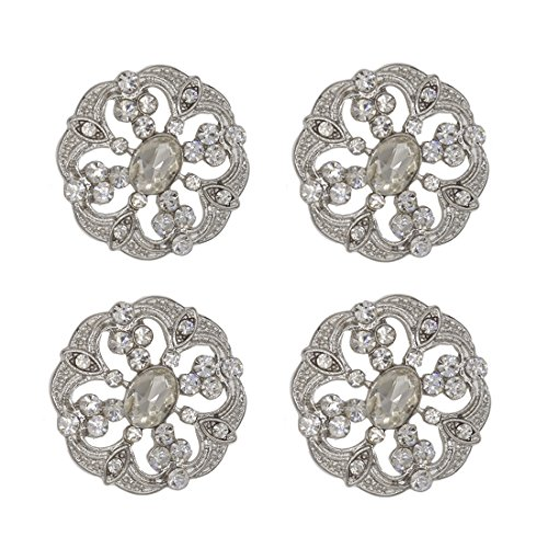 SHINYTIME Pearl Rhinestone Buttons 4 Pieces Sew-On Silver Crystal Buttons for Bridal Clothing Wedding Bouquet Accessories Decoration and DIY Crafts 1.0X1.0 inches Valentines Ideas for her