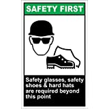 Safety Glasses Safety Shoes Safety First OSHA / ANSI LABEL DECAL STICKER