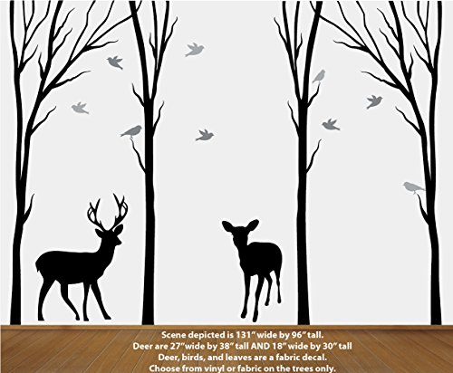 Black Vinyl Trees, Deer in Dead Forest Decal, Dead Tree Stickers