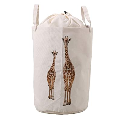 LifeCustomize Large Laundry Basket Hamper Giraffe Mom and Baby Collapsible Drawstring Clothing Storage Baskets Nursery Baby Toy Organizer : Baby