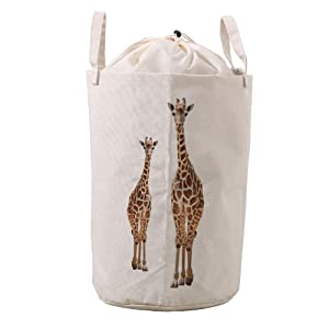 LifeCustomize Large Laundry Basket Hamper Giraffe Mom and Baby Collapsible Drawstring Clothing Storage Baskets Nursery Baby Toy Organizer