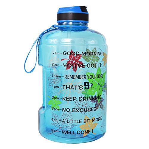 QuiFit Gallon Sport Water Bottle Wide Mouth with Straw Lid Easy Sipping 128/73/43 Ounce Motivational Time Marker Encourage You Drinking Enough Water Throughout The Day (128 Ounce Maple Leaf)