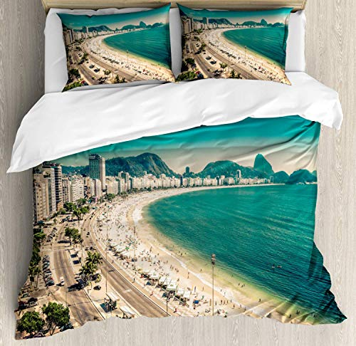 Vintage Beach Duvet Cover Set Twin Size Copacabana Beach Ipanema Sugar Loaf Mountain in Rio Famous World Beaches Decorative 4 Piece Bedding Set with 2 Pillow Shams ()