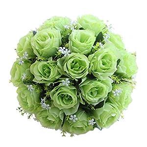 18 Head Artificial Silk Roses Flowers Bridal Bouquet Rose Home Outdoor Wedding Decor (C) 3