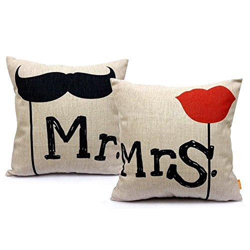 18 X 18 Inch Cotton Linen Decorative Couple Throw Pillow Cover Cushion Case Couple Pillow Case, set of 2 Mr. And Mrs. Right Pillowcases,
