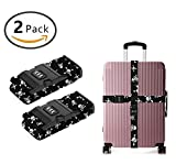 YEAHSPACE Luggage Strap 2 Pack Skull And Crossbones Heavy Duty 3 Dial Approved Lock Travel Belts Suitcase Straps
