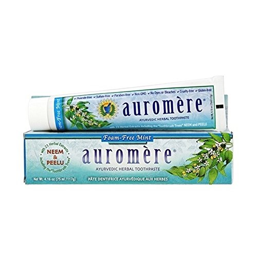 Auromere THRAU0080 Ayurvedic Herbal Toothpaste, Foam-Free Mint, 4.16 (Ayurvedic Herbal Toothpaste)