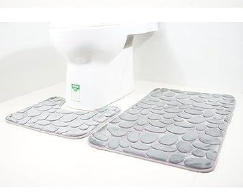 Tapis De Toilette Et Tapis De Bain 2 Pieces Microfibre