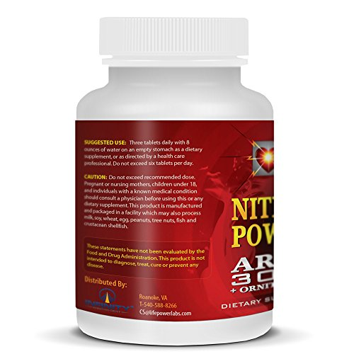 LifePower Labs Nitric Oxide Power Pump. Increase Muscle Growth, Strenght & Speed Muscle Recovery For Men & Women. With L-Arginine 3000 MG + Ornithine & Glutamine. 90 Tablets.