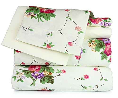 Price comparison product image Dor Extreme Super Soft Luxury Floral Six Piece Bed Sheet Set in 6 Prints (Twin, Ivory Floral)