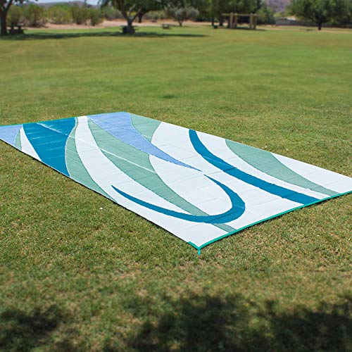 Ming's Mark GA3 Stylish Camping Reversible Graphic Patio Mat - 8' x 12', Blue/Green