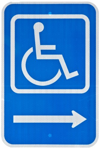 (ZING 2207 Eco Parking Sign, Handicapped Symbol Right, 18Hx12W, Engineer Grade Prismatic, Recycled Aluminum)