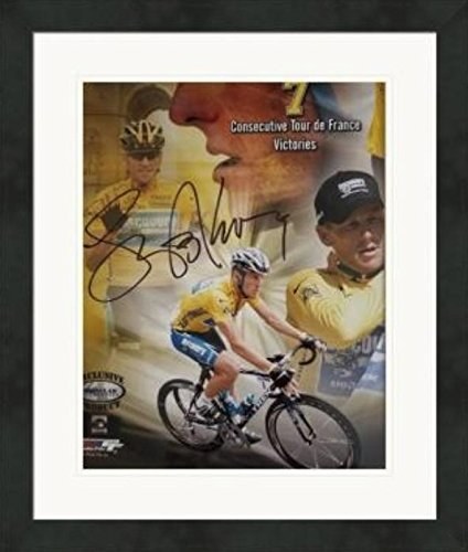 Lance Armstrong autographed 8x10 Photo (7 consecutive Tour de France victories) #1 Matted & Framed - Autographed Sports Photos