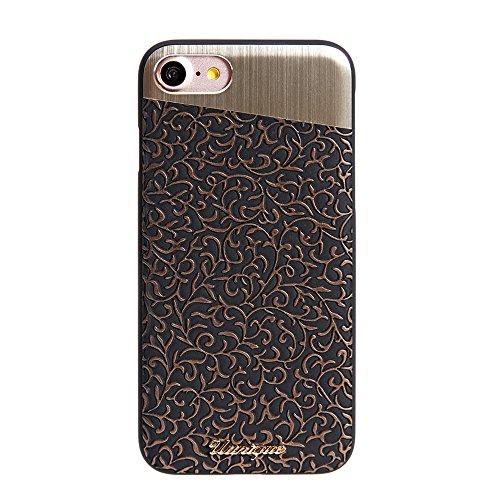 (iPhone 8/ iPhone 7 Case, Uunique, Premium Protective Cover, Unique, Filigree Design, Slim Back Case with Bronze Aluminum Cover, Slim Back Case, Protective Rubberized Edges for Apple iPhone)